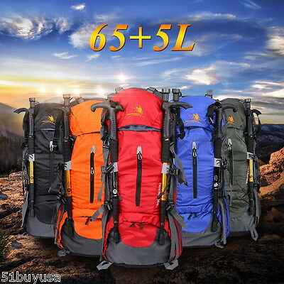 65+5L Outdoor Backpack Mountaineering Bag Camping Travel Hiking Large Rucksack