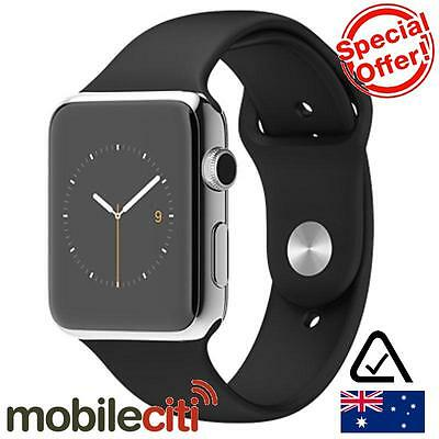 Apple Watch 42mm Stainless Steel Case with Black Sport Band MJ3U2X/A