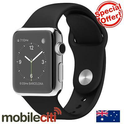Apple Watch 38mm Stainless Steel Case with Black Sport Band MJ2Y2X/A