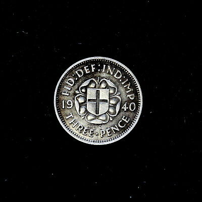 1940 George V  Silver Threepence, Near Unc  Condition,a36