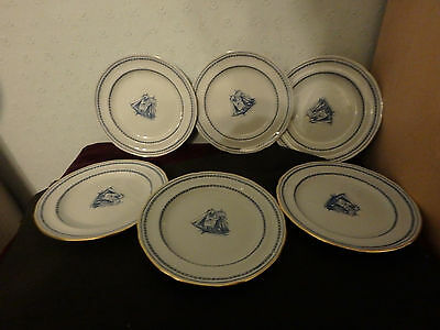"SPODE ENGLISH BLUE  CHINA  ""TRADEWINDS"" 3 x 6"" PLATES & 3 X 6"" PLATES GOLD TRIM"