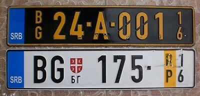 Serbia DIPLOMATIC and TEMPORARY license plate blue band lot newest type 2 plates