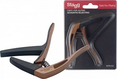 Stagg SCPX-CU DKWOOD Look Curved Trigger Acoustic Or Electric Guitar Capo