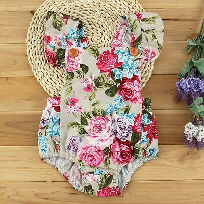 Newborn Infant Baby Girls Floral Cotton Bodysuit Romper Jumpsuit Clothes Outfits