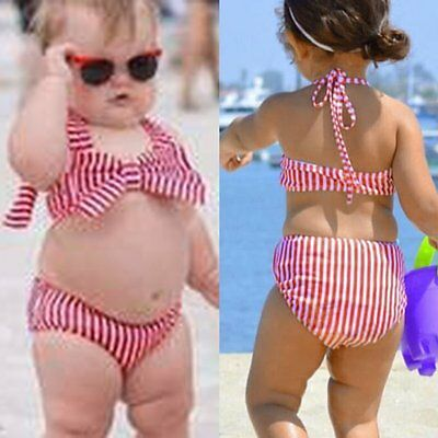 Kids Baby Girls Striped Tankini Bikini Swimwear Swimsuit Bathing Suit Beachwear