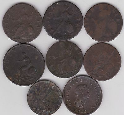 Eight Old Copper Halfpenny Coins In A Well Used Condition Dated 1700 To 1862