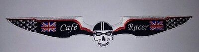 Cafe Racer  11 inch skull wing British flag. Rocker .59 Club.Ace Triumph Ton Up