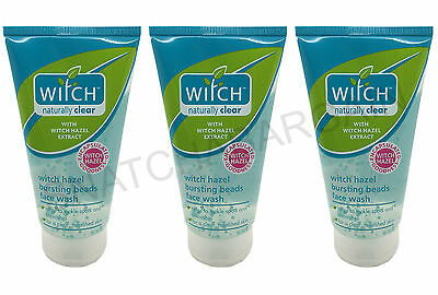 3 x WITCH HAZEL NATURALLY CLEAR BURST FACE WASH WITH BEADS 150ml