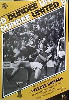 DUNDEE UNITED v WERDER BREMEN OF WEST GERMANY 82-83 U.E.F.A. CUP MATCH
