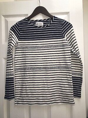 Girls Navy Blue & White Long Sleeved Top Next 12 Years Vgc