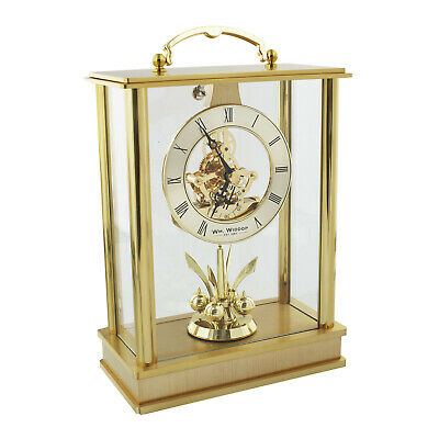 Skeleton Dial Lantern Carriage Mantel Table Clock w Rotating Pendulum