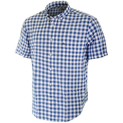 Lacoste Mens CH8757 Gingham Short Sleeve Shirt - Astre/White - Size 40 - M
