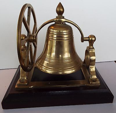 vintage Brass Pulley Wheel Ship's Bell Mounted on Wood