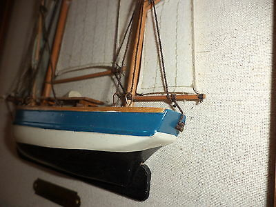Vintage wooden model sailing ship picture X 2