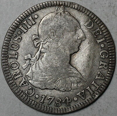 1784 MEXICO Silver 2 Reales Colonial Spain Coin (16061604R)