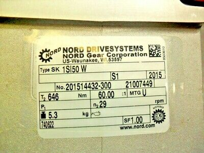 """NORD DRIVESYSTEMS - SK 1S150W - 60:1 ratio - 1"""" hollow bore - 5/8"""" shaft - new"""