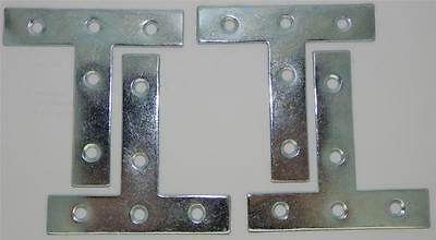 "Pack of 4 Tee Plates Zinc Plated 3"" / 75mm (item No.729)"