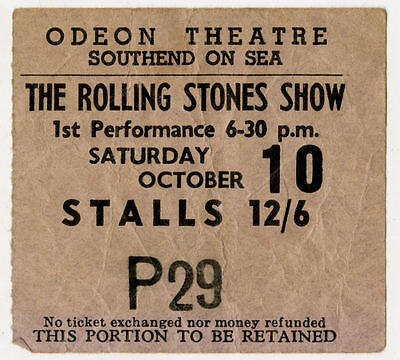 The Rolling Stones Show Concert Ticket Stub Southend On Sea 1964