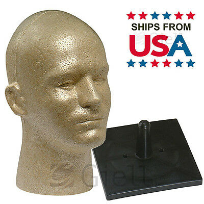 Full Size Male Styrofoam Head Gold with Free NonTopple Stand - Ships from USA