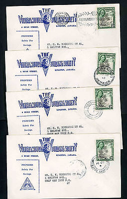 Jamaica four 1953 Royal Visit first day covers with different local postmarks