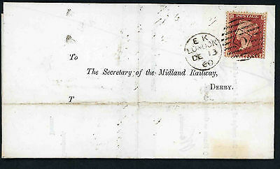 1861 entire letter to Midland Railway Derby with 1d star and London numeral
