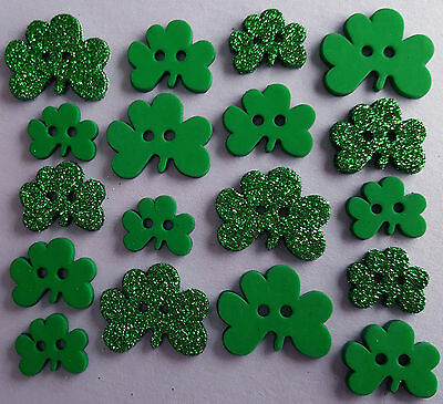 SHAMROCKS - St Patricks Day Irish Green Glitter Dress It Up Craft Buttons