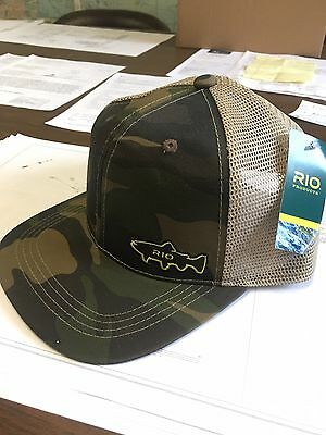 NEW RIO Products Camo Trucker Hat Mesh Cap fly fishing snap back  line leader nr