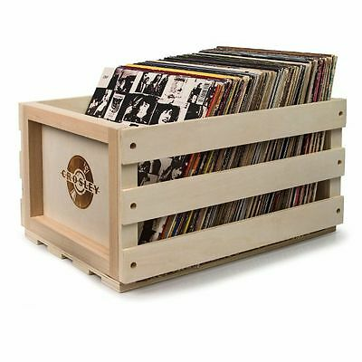 Crosley AC1004A 12 Inch LP Vinyl Record Storage Crate (natural wood)
