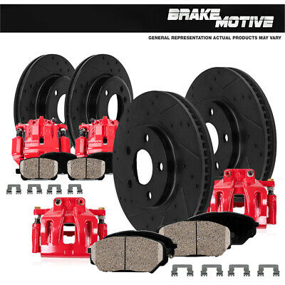 Front And Rear Red Brake Calipers & Rotors & Pads Silverardo Sierra 2500 3500 HD