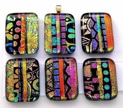 Lot 6 pcs RECTANGLE multi color DICHROIC FUSED GLASS pendant (C3) CABOCHON