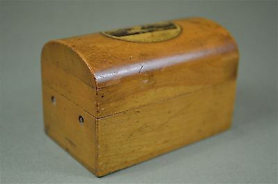 Antique Mauchline ware dome top box with view of Bowness from the steamer pier