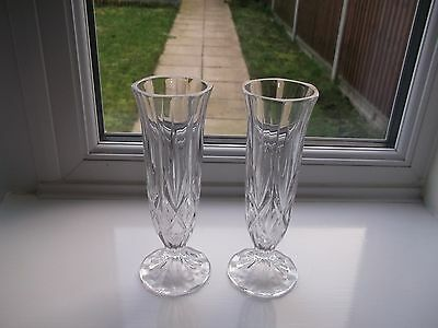 Lovely Vintage Pair Of Facet Cut Glass Tall Vases