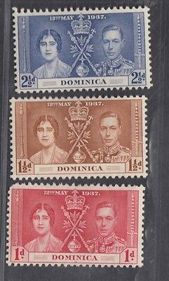 "£0.25p start - A MINT set of ""DOMINICA"" CORONATION issues SG96-8 (1937)."