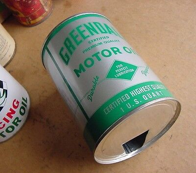 NEAR MINT 1951 Vintage GREENDALE MOTOR OIL Old Lou Bob Chicago 1 qt. Tin Can