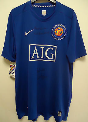 MANCHESTER UNITED 40th ANNIVERSARY SHIRT BMWTS SIGNED SIZE XL