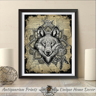 Wolf and dreamcatcher print, Pagan Witch Art on antique dictionary page