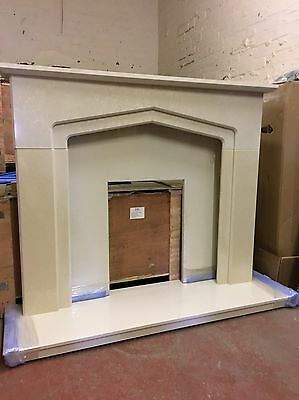 Cream And Beige Solid Marble Fire Surround And Hearth