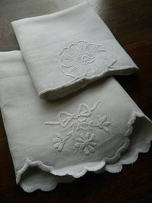 Two antique white Irish linen huckaback towels - hand embroidered whitework