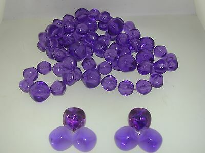 Lovely Vintage 1950-60's Rich Purple Lucite Necklace & Earrings Set!