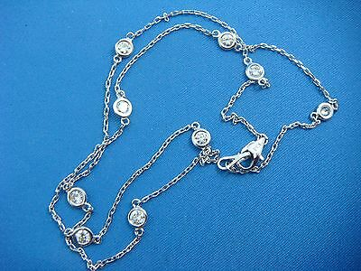 "9 Stations 1 Ct ""diamonds By The Yard"" Designer 14K White Gold Necklace, 16 Inch"
