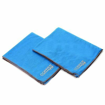 Copper Fit Set of Two (2) Copper Infused Cooling Towels Aqua Blue NEW