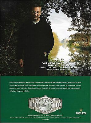 Eric Clapton Rolex Oyster Perpetual Men's Watch ad 8 x 11 advertisement print