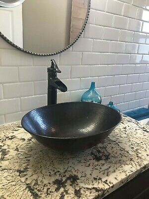"""17"""" x 12"""" Oval Copper Vessel Bathroom Sink with Drain Choice"""