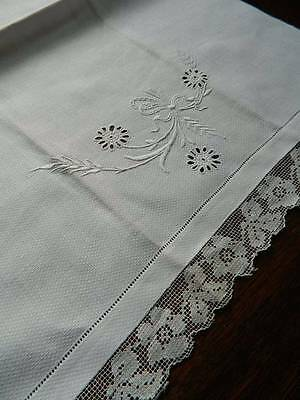 Two antique white Irish linen huckaback guest towels - hand embroidery & lace #B