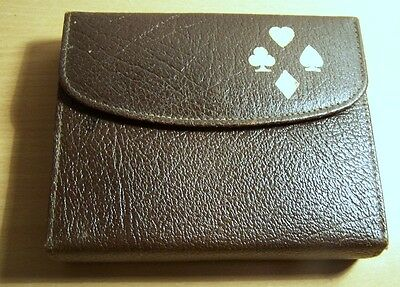Bridge Playing Set In Leather Carry Case. Playing Cards. Vintage.