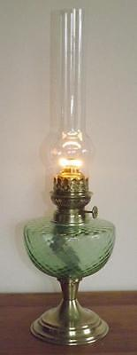 A Vintage French Brass/green Glass Oil Lamp