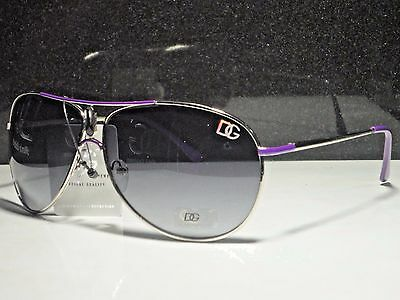 DG Designer Eyewear 2-Tone Purple And Silver Aviator Sunglasses Metal Frame New