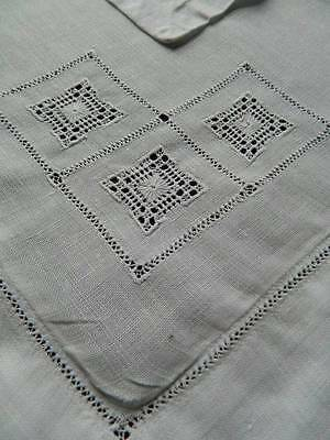 Pair antique white Irish linen Oxford style pillowcases with drawnthread work