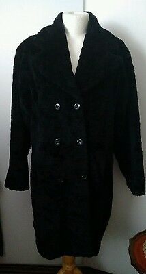 Vintage Black Faux Fur Double Breasted Coat : Size L Toast Warm & Stylish
