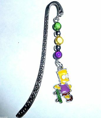The Simpsons Novelty Enamel Bart Tibetan Silver Bookmark Gift with Miracle Beads